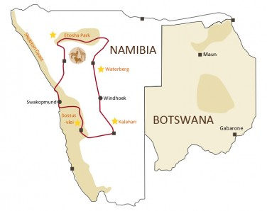 Namibia Highlights Map